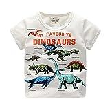 Niño Bebe T-Shirt,Sonnena Niño Infantil Baby niños Ropa Manga Corta Dinosaurio impresión Tops T-Shirt Blusa (130cm, Blanco)