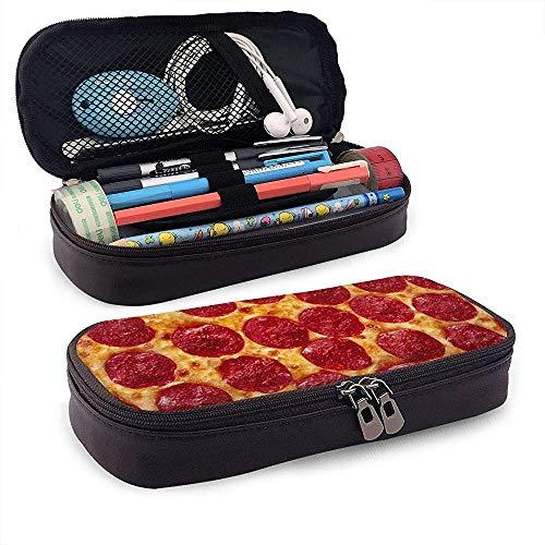 Baked Sausage Pizza Leather Pencil Case with Zipper,Microfiber PU Leather Stationery Art Supplies College Office Pencil Holder Pen Case Pouch