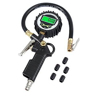 Neoteck Medidor de Presión Neumáticos Manómetro Digital 200 PSI Con La Pantalla LCD y 5 Tapas de Válvula de Plástico Negras para Automóvil y Moto