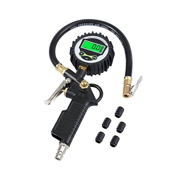 Neoteck Manómetro Digital Medidor de Presión Neumáticos de Manómetro 200 PSI Con La Pantalla LCD y 5 Tapas de Válvula de…
