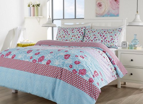 Home TLC New Chelsea Floral Bettwäscheset, Bettbezug Kissenbezüge Betten Set Single Double King Super-King-Size, 50 % Baumwolle / 50 % Polyester, multi, King Size (Tröster Set London)