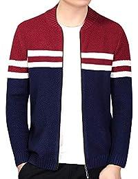 Cebbay Chaqueta de Punto de los Hombres Camisa de Entrenamiento Tendencia de Moda de Rayas Finas.Cálido y Confortable otoño e Invierno.Liquidación
