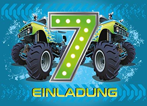 12 Einladungskarten 7. Kindergeburtstag Jungen Monstertruck siebte Geburtstag Jungs Geburtstagseinladungen Einladungen Kartenset Monster-Truck Auto