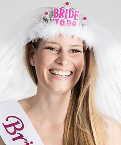 Party-Teufel Tiara und Brautschleier Aufschrift Bride to Be für die Werdende Braut Pink und Weiss Junggesellenabschied (Weiss)