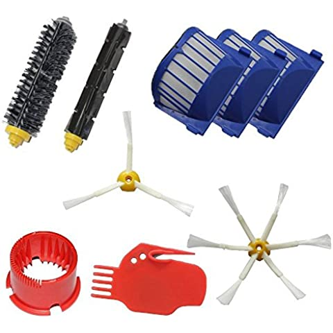 LOVE(TM)Aero Vac Filter & Setola Spazzola e flessibile Beater Brush & 3-Armed + 6-Armed spazzola e pulizia laterale Tool Kit Rifornimento Mega Pack per Robot serie 600 (620 630 650 660) pulizia con aspirapolvere robot