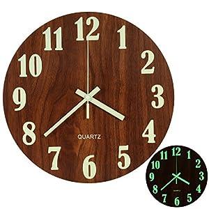 LENRUS Luminous Wanduhr, 12 Zoll Holz Stille Nicht Tickende Küche Wanduhren  Mit Nachtlichter Für
