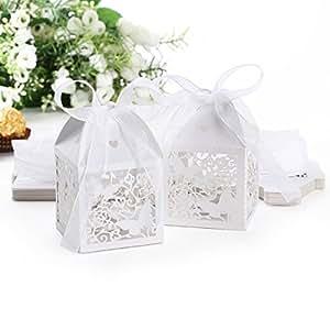25 x Boîte à dragées bonbons fleur papillon #016 blanc pour Mariage Baptême