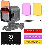 Galleria fotografica Kit Filtri Lente da Immersione per Telecamera GoPro HERO 4 Session - Arrichisce i Colori per Varie Condizioni...