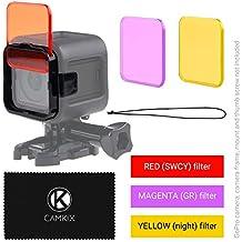Juego de filtro de lentes de Buceo para GoPro HERO 5 / 4 Session Camara – Mejora colores para Varios Videos submarinos y Condiciones de Fotografia – Colores vivos, Mejora contraste, vision nocturna (GoPro HERO 4 Session, 3 Filtros: rojo / magenta / amarillo)