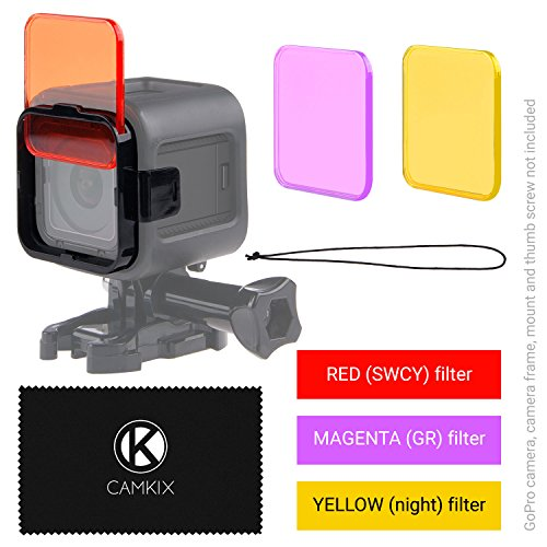 Objektivfilter-Set zum Tauchen für GoPro Hero 5 / Hero 4 Session Kamera - optimiert die Farben bei Aufnahmen von Videos und Fotos unter Wasser - leuchtende Farben, verbesserte Kontraste, Nachtsicht. (3 Filters (Rot / Magenta / Gelb), GoPro HERO 4 Session) Test