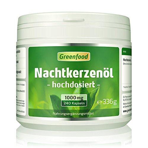 Greenfood Nachtkerzenöl, 1000 mg, hochdosiert, 240 Softgel-Kapseln - reich an Omega- und Omega 6 und natürlichem Vitamin E. OHNE künstliche Zusätze. Ohne Gentechnik. - Nachtkerzen Samen Öl