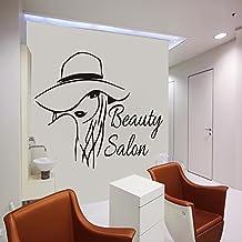 Para pared de salón de belleza peluquería mujer corte de pelo Peluquería Vinilo Adhesivo Bedroon diseño Interior decoración arte Mural mn772