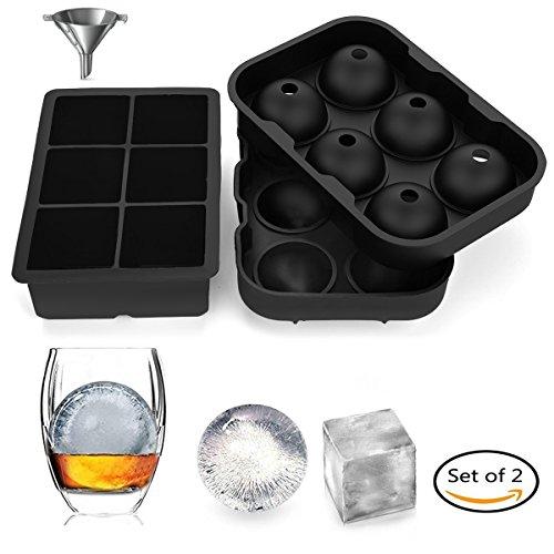 Ohadani Eiswürfelbehälter Silikon Combo Form (2er Set), Kugel rund Eiskugel Herstellung mit Deckel & große quadratische Formen, wiederverwendbar und BPA frei (Formen Kugel)