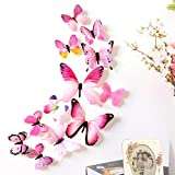 wuayi 12Stück 3d Schmetterling 'stickrs Tapete Design Fashion DIY Haus babyroom Wand Dekoration 11CM(2pcs),8CM(2pcs),6CM(8pcs) rose