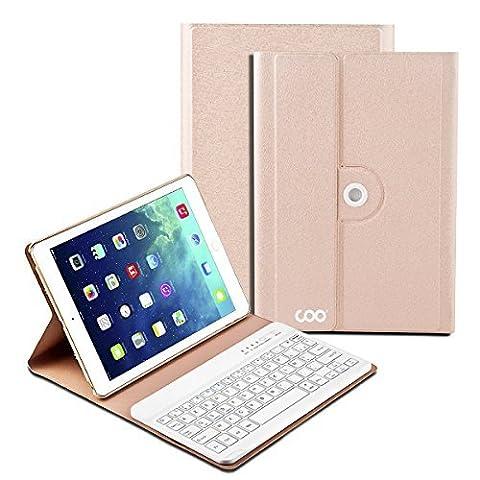 Clavier Bluetooth Étui iPad Air 1 2, COO Clavier d'Input Français sans Fil Coque Amovible 360° et Multi-angle Support pour IOS Android et Windows [3 en 1 Compatible] [Champagne]