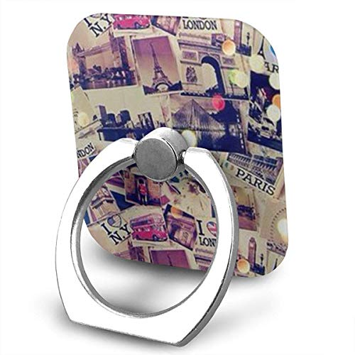 Nicegift London Paris 360 Rotating Phone Metal Buckle Tablet Finger Grip Ring Stand Holder Kickstand for All Phones Tablets