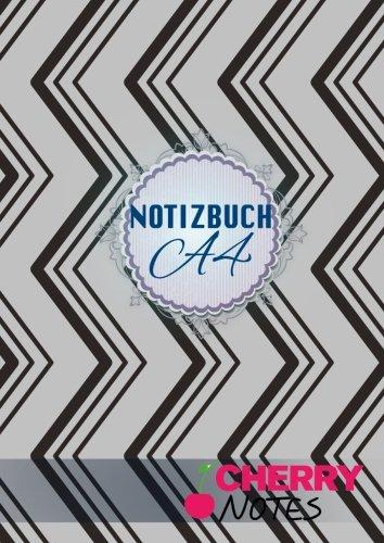 Notizbuch A4: Notizbuch   Notebook   Blankobuch   Format DIN A4 - 152 freie Seiten - Leer / Liniert- Weiß- Inklusive Register  Index  - Original Cherry Notes Notizbuch   Design Downline