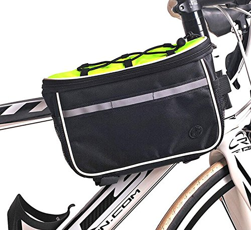 XY&GKMountainbike Sattel Tasche Top Rohr Paket vorderen Trägers Pack wasserdichte Fahrrad Handy Tasche Kapazität erhöhen Fahrrad Zubehör, machen Ihre Reise angenehmer Green