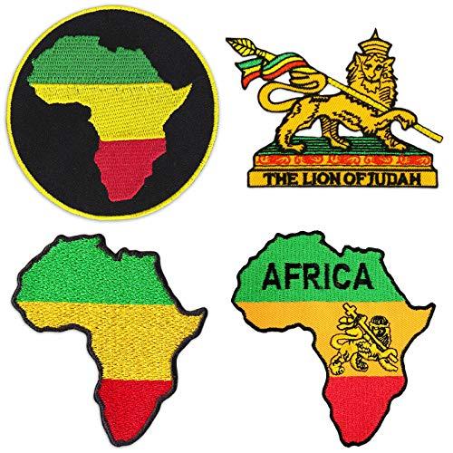 b19c1ffc081590 Wakapu Africa Rastafari Patches Set of 4 Sew Iron On Reggae Ragga Patch  Lion of Juda