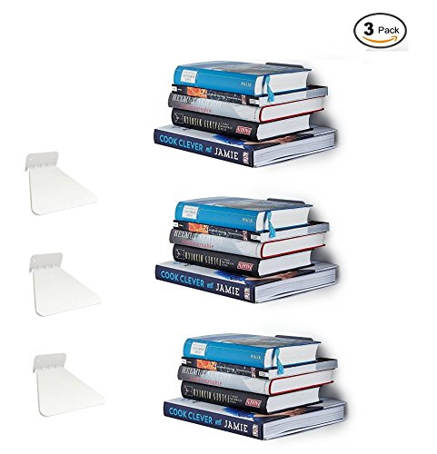 Ducomi® mensola invisibile per libri - scaffale a scomparsa per arredare la vostra casa con stile ed eleganza (set of 3, white)