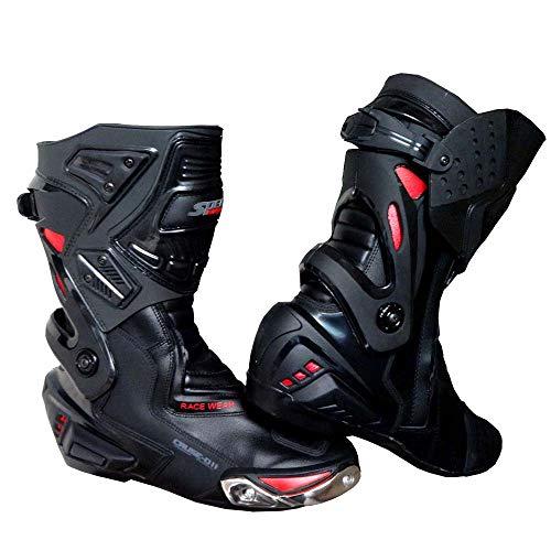 SPEED MAXX LTD, Stivali da Moto da Corsa, da Uomo, in Pelle, Colore Nero e Rosso