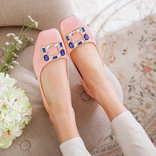 MissSaSa Damen Low-cut verkant Spitze Slipper mit Strass und künstlich Edelstein niedrig Absatz Lackleder Kleidschuhe Pink