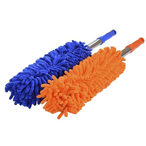 DEDC-2Pcs-Plumero-de-Microfibra-Chenilla-con-Mango-Extensible-Cepillo-de-Coche-Extrable-Lavable-Retrctil-para-Limpiar-Interior-Exterior-de-Coche-Cocina-Hogar-Color-Naranja-Azul