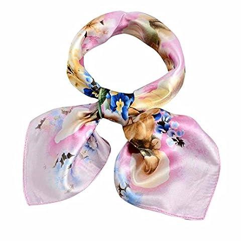 Womens Scarf,Clode® Fashion 60cm*60cm Neck Square Scarf Cool Silk Feel Red White Blue Bandana Women Ladies Stewardess Hand Head Handbag Multiuse (Pink(Style 1))