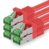 1aTTack.de 625683 Cat.7 Netzwerkkabel 0,25m Rot - 5 Stück - Cat7 Ethernetkabel PoE+ LAN Kabel Rohkabel 10 Gb/s (S-FTP PIMF) Set Patchkabel mit Rj 45 Stecker Cat.6a 5 x 0,25 Meter Rot