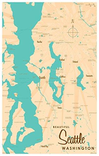 Northwest Art Mall Seattle Washington Map Gerahmter Kunstdruck von lakebound 12x18 inch