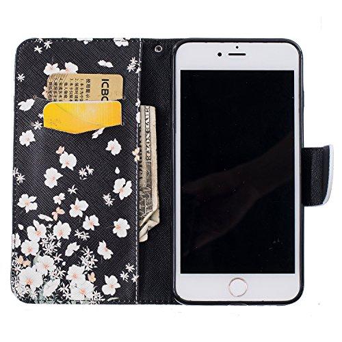 für iphone 7 Plus Hülle Klappbar Leder ,SKYXD Schmetterlings-Blumen Muster PU Folio Schutzhülle [Magnetverschluss / Brieftasche Kartenfach / Standfunktion] Klapphülle mit [Krone Handyanhänger + Eingab Design 10
