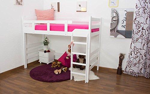 """Kinderbett / Hochbett """"Easy Möbel"""" K14/n, Buche Vollholz massiv Weiß - Maße: 90 x 200 cm"""