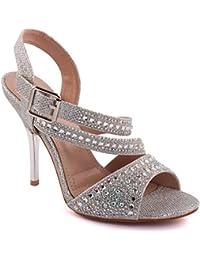 Unze Femmes 'Samie' Diamante Embellis Strappy Haut talon aiguille Soirée Soirée Carnaval Rejoindre Brunch Mariage Talon Sandales Court Chaussures Taille 3-8