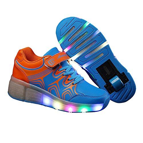 Brinny Sneaker LED Clignotant Baskets Roule Lacts Roulé Mixte Enfant Fille Garçon Chaussures à Roulette Bleu