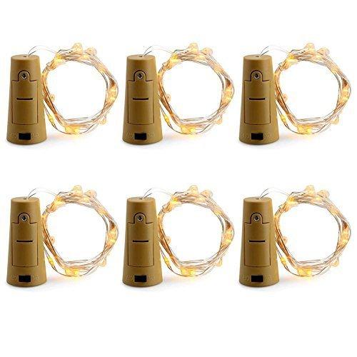 Enjoydeal 6 Pack LED Bottle Cork String Light 20LED 70in180cm Wine Bottle Cork