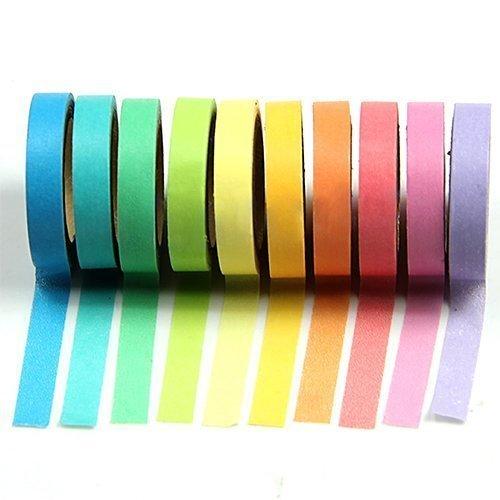 Qpower, Washi Rainbow, 10 X Decorativo de Washi Tape Arco Iris Rollos de Papel Para Manualidades Diy