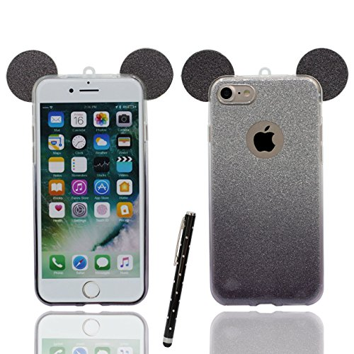 Schutzhülle für iPhone 6S Plus Hülle Hübsch Schön Cartoon Mouse-Ohren Dünn Leicht Weich Silikon Transparent Case Cover für Apple iPhone 6 Plus 6S Plus 5.5 inch X 1 Stylus-Stift - schwarz (Iphone 6 Plus Stift)