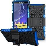 Sony Xperia Z3 Funda, FoneExpert® Heavy Duty silicona híbrida con soporte Cáscara de Cubierta Protectora de Doble Capa Funda Caso para Sony Xperia Z3 + Protector Pantalla (Azul)