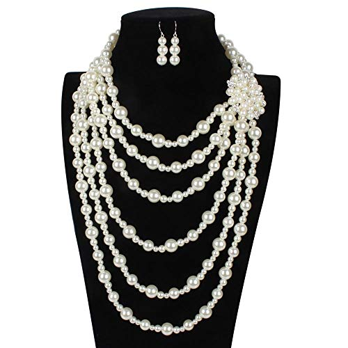 DRHYSFSA Schmuck-Sets Künstliche Perlenkette Vintage Braut Perlenkette Ohrringe Schmuck Set Multilayer Nachahmung Perlenkette mit Brosche Hochzeit Prom Schmuck Set