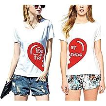 Best Friends T shirt Pour 2 fille impression des demi amour intéressant femmes à manches courtes par JWBBU®