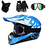 Die besten Full Face Motorradhelme - TKGH Motocross Helm mit Visier Brille Handschuhe Maske Bewertungen