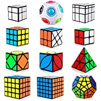 Speed Cube Set 12 Pack, Triangle Pyramid Cube 2x2 3x3 4x4 5x5 Speed Cube Bundle for Kids, Smooth Sticker Megaminx Dodecahedron Cube + Skew Ivy Cube + Mirror Cube + Rainbow Puzzle Ball