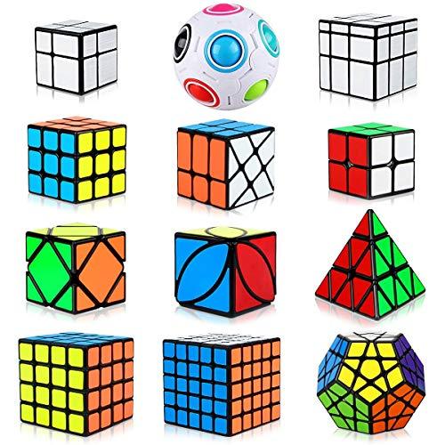 Aiduy Zauberwürfel Cube Set 12 Stück, Dreieck Pyraminx Speedcube 2x2 3x3 4x4 5x5 Pyramiden Speed Cube, Megaminx Zauberwürfel + Mirror Cube + Rainbow Puzzle Ball + Skew Ivy Würfel