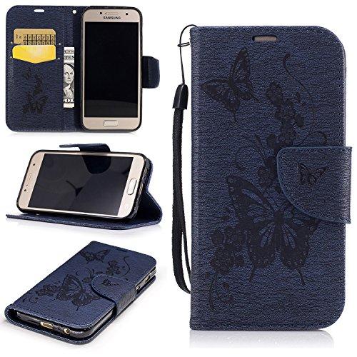 Cozy Hut Premium Handy Schutzhülle Tasche Leder Wallet Tasche Flip Brieftasche Etui Schale Mit Kartenfach Magnetverschluss Standfunktion für Samsung Galaxy A3 2017 - Marineblau Schmetterling