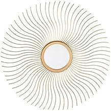 dcasa - Espejo de pared dorado de metal para decoracion sol nacido de 48 cm