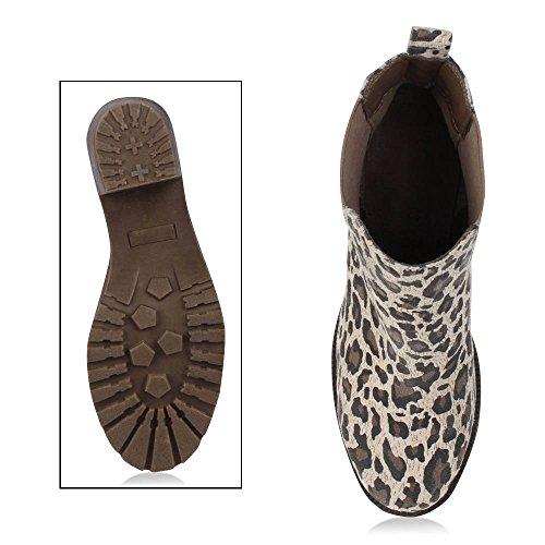 7b6871e0f2e8f3 Damen Plateau Stiefelette Chelsea Boots Stiefel Trend Damen ...