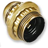 Electraline 71131 - Portalámparas roscado (rosca E27, incluye arandela), color dorado
