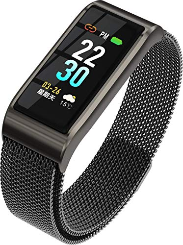 LIRUI057 Kompatibel Android iOS Fitness Armband mit Blutdruckmessung Metallarmband,IP67 Wasserdicht Fitness,Schlafüberwachung Aktivitätstracker,Black