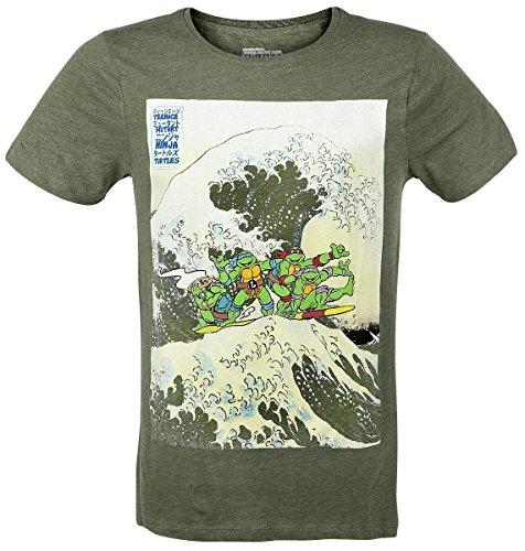 Teenage Mutant Ninja Turtles Hokusai Wave T-Shirt mix verde oliva M