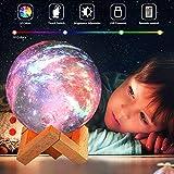 Lampe Lune, OxyLED Lampe Lune Imprimée en 3D 18CM Variateur de Lumière lunaire16 couleurs RVB avec Télécommande contrôle tactile USB Rechargeable Veilleuse LED Cadeau pour Femme Enfants